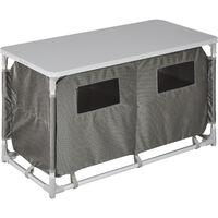 Cocina de camping 97x47,5x56,5cm - cocina plegable de madera y aluminio, cocinilla de camping para cocina de gas con bolsa, cocina de camping gas con patas ajustables - gris