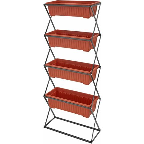 Fioriera verticale con 4 vasi - marrone