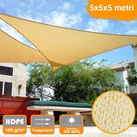 con lacci in nylon e occhielli FineHome Tenda parasole 3,6 x 3,6 x 3,6 m triangolare