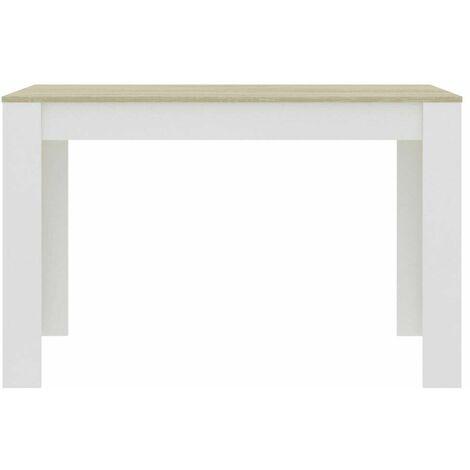 Tavolo Da Pranzo Cucina Rettangolare Moderno In Legno 120x80x74cm Bianco E Acero