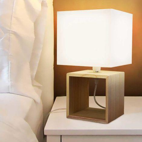 Lampada Da Tavolo Lume Da Comodino In Legno E Tessuto Bianco Abatjour 33x18cm