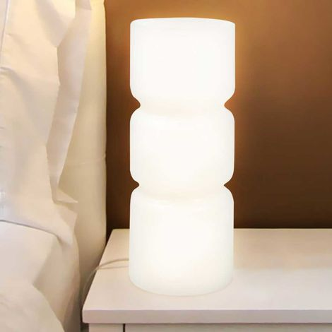 Lampada Da Tavolo Lume Da Comodino In Vetro Opaco Bianco Abatjour 26 5x10cm E14