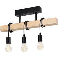 Lampadario Lampada Sospensione legno Metallo Design Moderno Industriale 3 Luci