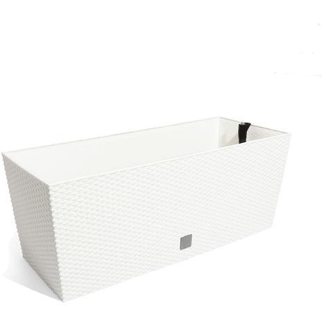 Jardinera rectangular 72 litros con autorriego color blanco 80 x 33 x 32 cm