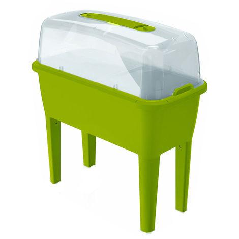 Huerto Urbano con invernadero de 52 litros en polipropileno 77 x 38 x 82 cm color pistacho