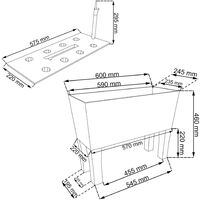Jardinera alta rectangular 30 litros con autorriego color antracita 60 x 25 x 46 cm con patas