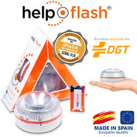 HELP FLASH - luz de emergencia AUTÓNOMA, señal v16 de preseñalización de peligro y linterna, homologada, normativa DGT, V16, con base imantada, activación AUTOMÁTICA, hecho en España