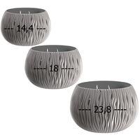 Pack 3 macetas Prosperplast BOWL SANDY de plástico CON depósito en color Gris piedra, tamaño Set S S