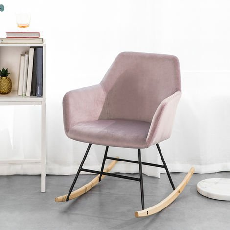 Chaise à Bascule avec Accoudoirs Fauteuil de Relaxation Pieds Confortable Haute qualité Élégant (Rose),SoBuy®FST68-P