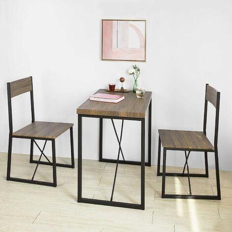 Set de 1 Table + 2 Chaises Table à Manger Table de Cuisine Ensemble Table de Balcon + 2 tabourets avec Dossier mobilier de Jardin, SoBuy® OGT19-N