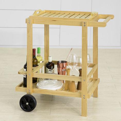 Chariot de Service à roulettes Chariot de Cuisine en Bois Table roulante de Rangement Dessert,SoBuy® FKW95-N