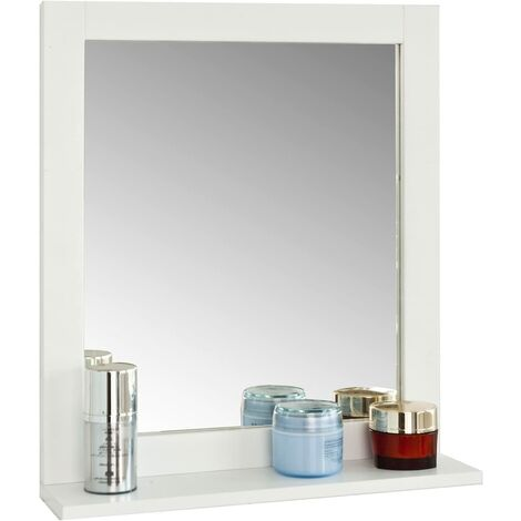 Miroir Mural Meuble Salle de Bain avec 1 étage plateau L40xP10xH49cm- Blanc SoBuy® FRG129-W