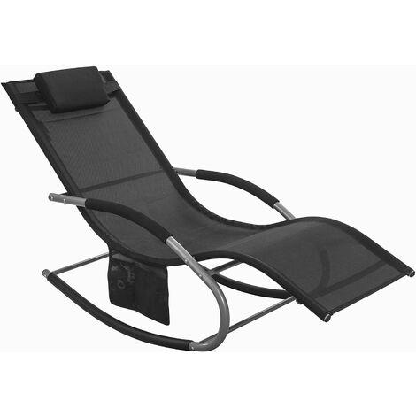 Fauteuil à bascule Transat de jardin avec repose-pieds, Bain de soleil Rocking Chair - Noir SoBuy® OGS28-Sch