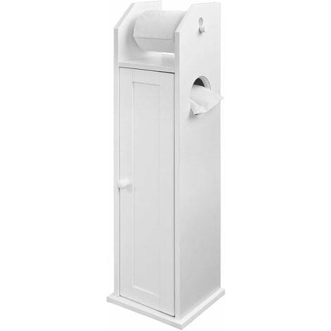 Support Papier Toilette Armoir Porte-papier Toilettes Porte Brosse WC en Bois - Blanc FRG135-W SoBuy®