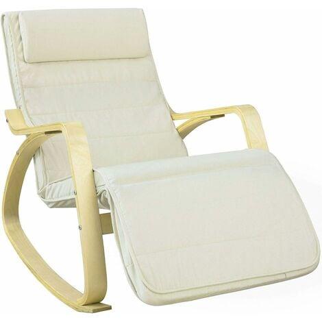 Fauteuil à Bascule Avec Repose-pied Réglable Design Rocking Chair Fauteuil Relax Bouleau Flexible (Beige) FST16-W SoBuy®