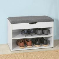 Banc de Rangement à chaussures 2 étages avec Grise coussin Commode à Chaussures confortable- blanc FSR25-HG SoBuy®