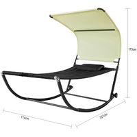 Transat de Jardin Transat à Bascule avec Pare-Soleil et 2 roulettes Chaise Longue à Bascule Bain de Soleil Confortable - Rouge OGS44-SCH SoBuy®