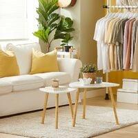 Set de 2 Tables Basses Gigognes Table café Table d'Appoint Table Basse Guéridon,FBT74-W,SoBuy®