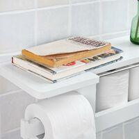 Dérouleur Papier Toilette - Distributeur WC Porte Papier mural avec support pour déposer Smartphone et porte-revues- Blanc FRG175-W SoBuy®