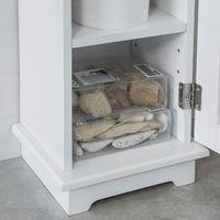 Support Papier Toilette Armoir Toilettes Porte Brosse WC en Bois – Blanc FRG177-W SoBuy®