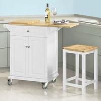 Table roulante Meuble de Rangement pour Cuisine Chariot de Cuisine de Service, Plan de Travail Extensible FKW36-WN SoBuy®