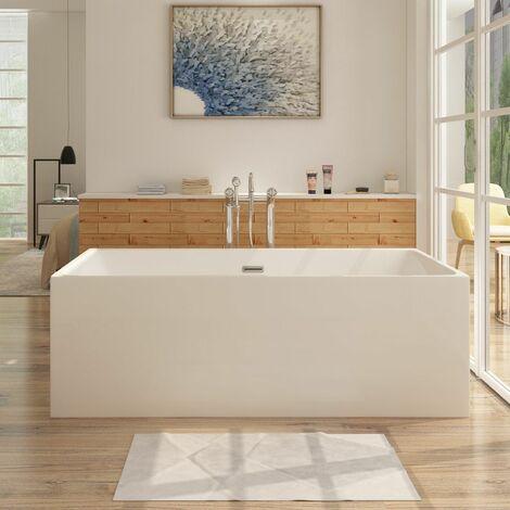Freistehende Design Badewanne ALTENA - aus Acryl in Weiß 150x75 cm