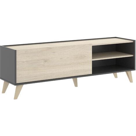Mueble Bajo TV -Grafito / Natural- 47 x 155 x 43 cm