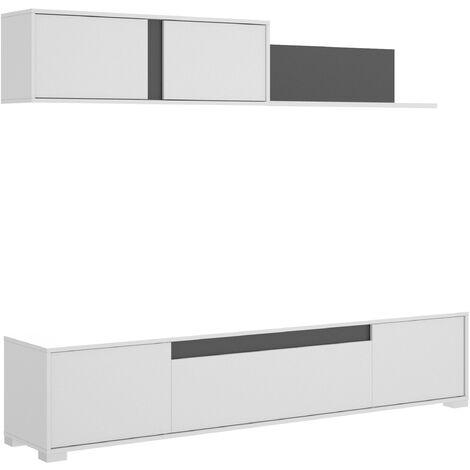 Salón TV Con Puertas Y Estante A Pared -Blanco Brillo / Grafito- 180 x 200 x 41 cm