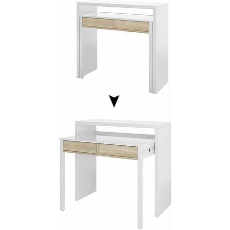 Mesa de escritorio blanca y roble Canadian 98,5 x 87,5 x 36-70 cm
