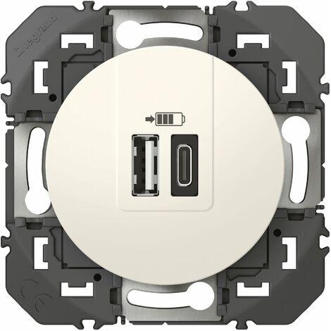 Ovalis prise USB double type A+C Blanc mécanisme seul 5Vcc 2,4A SCHNEIDER S26140