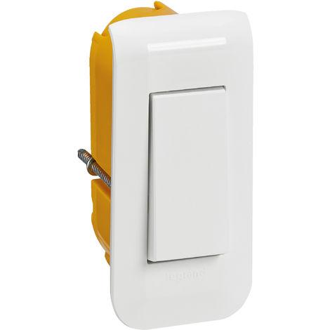 Kit Mosaic Interrupteur étroit + Support + Plaque + Boîte - Complet - Blanc - Legrand