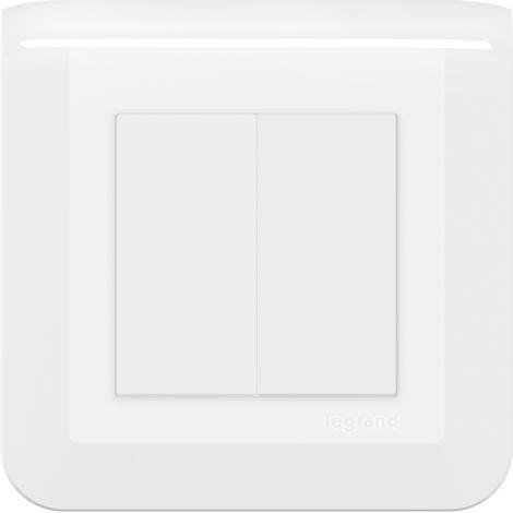 Interrupteur ou va-et-vient Mosaic double - Complet - Avec griffes - Blanc - Legrand
