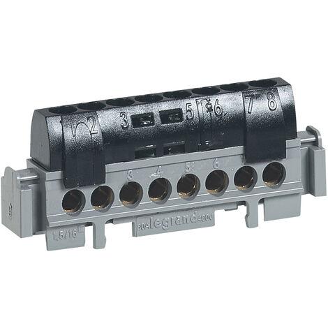 Bornier de phase - 8 bornes pour câble 1,5 à 16mm ² - noir