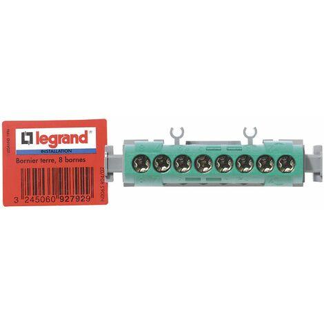 Bornier de terre - 8 bornes pour câble 1,5 à 16mm ² - vert