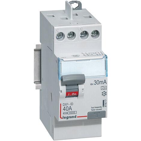 Interr. diff DX³ ID arrivée haute départ haut à vis 2P 230V 40A A 30mA 2 modules