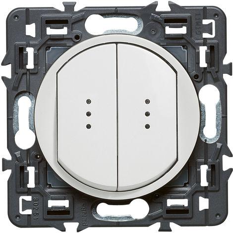 Double interrupteur/va-et-vient lumineux (voyant fourni) Céliane Soft - Blanc