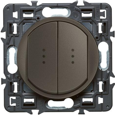 Double interrupteur témoin (voyant fourni) Céliane Soft - 10A - Graphite