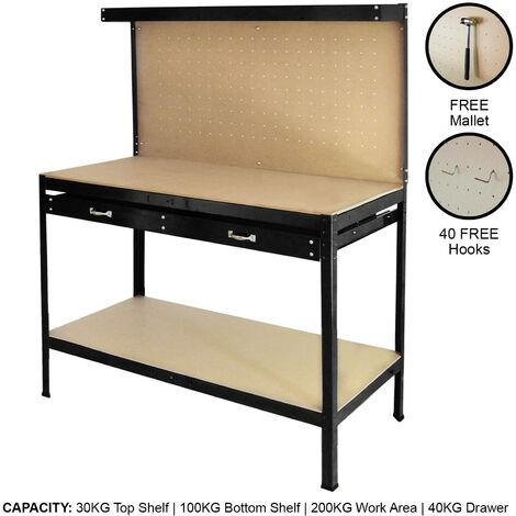 Workbench With Pegboard And Drawer In Black