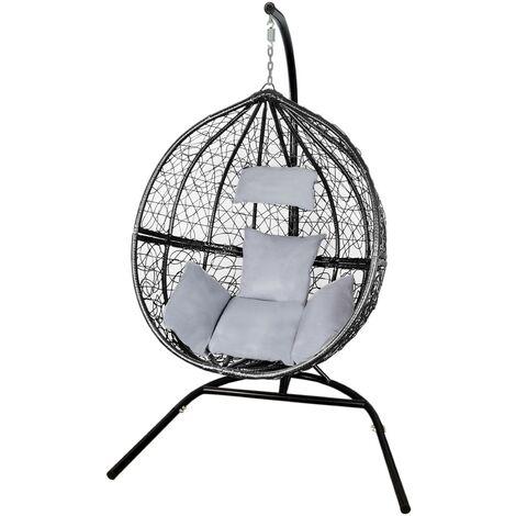 Black Egg Chair Rattan Hanging Swing Bench Garden Patio Outdoor Indoor | with Cushions