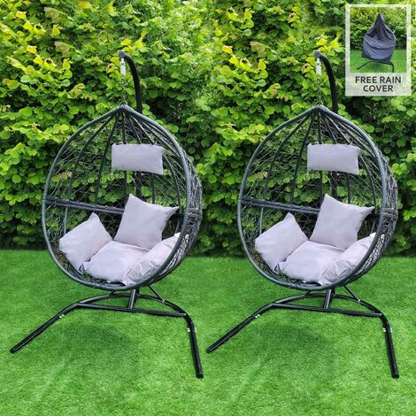 Swing Hanging Egg Chair Rattan Bench Garden Patio Outdoor Indoor Furniture Hammock Basket Seat Black | with Cushions, Waterproof Cover and Stand