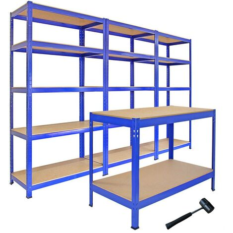 Monster Racking: 3 T-Rax Storage Shelving Units & 120cm Q-Rax Workbench
