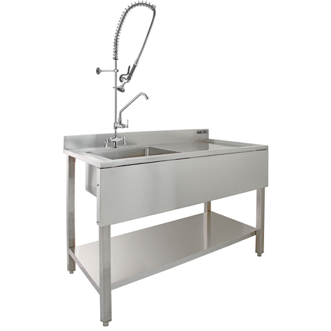 KuKoo Commercial Sink & Pre-Rinse Tap - Right Hand Drainer