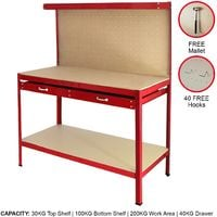 Workbench With Pegboard And Drawer In Red