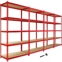 Monster Racking Z-Rax Corner Shelving Unit & 4x 90cm Garage Storage Bays, Red