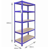 Monster Racking T-Rax Corner Shelving Unit & 90cm Garage Storage Bays x4, Blue