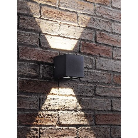 Auraglow Black Integrated LED Contemporary Cube Design Outdoor Adjustable Beam Up and Down Wall Light – IP54, Warm White for Home Porch, Garage, Drive and Garden
