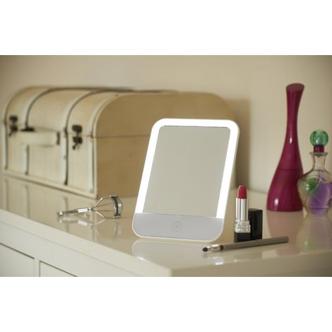 Auraglow Makeup Shaving Vanity Mirror with USB Rechargeable LED Light, Free Standing and Portable with Built in Stand, Dimmable with Touch Controls