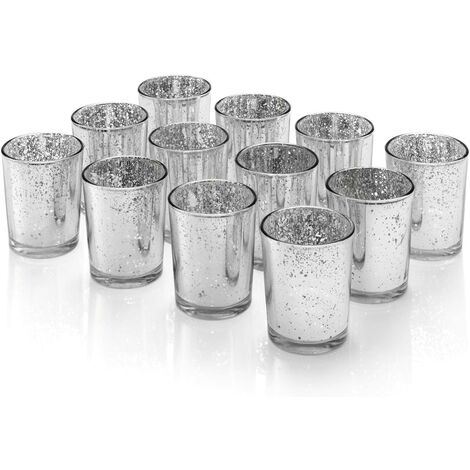 """Auraglow Mercury Glass Votive Candle Tealight Holder 2.75""""H Set of 12 Speckled Silver for Weddings, Parties and Home Décor"""
