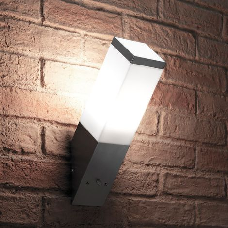 Auraglow Stainless Steel Automatic Dusk Till Dawn Sensor Angled LED Wall Light - Cool White