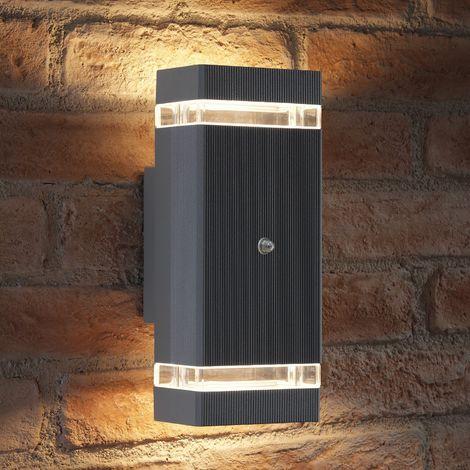 Auraglow Dusk Till Dawn Sensor Double Up & Down Wall Light - THRUXTON - Silver (Warm White)